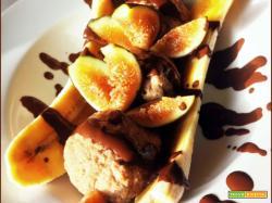Banana Split con Frozen Porridge al Caffè Fichi e Cioccolato