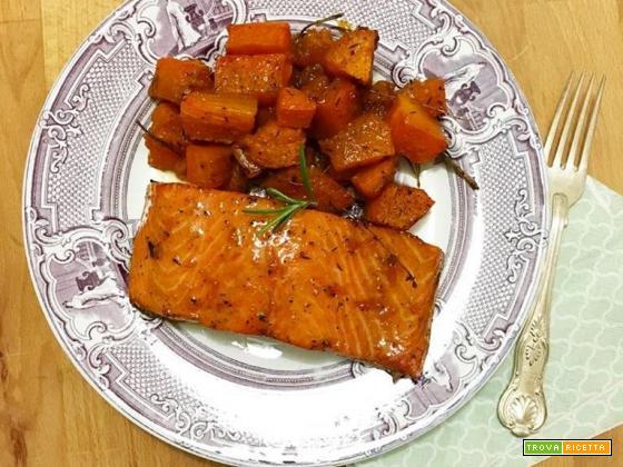 Salmone laccato e zucca caramellata