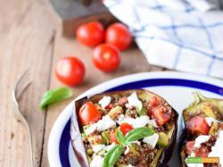 Melanzane ripiene di quinoa con zucchine, ciliegini e bufala: salutando l'estate...