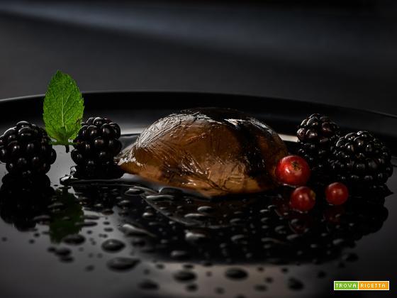 panna cotta alla liquirizia e salsa al cioccolato