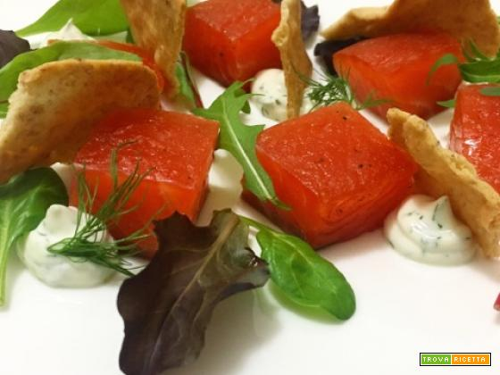 Salmone marinato e yogurt