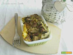 Lasagne salsiccia e carciofi con besciamella agli asparagi