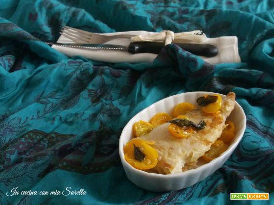 Persico al forno con pomodorini gialli – secondo light di pesce