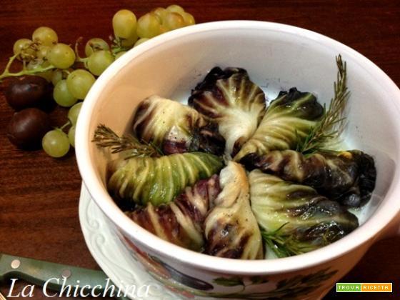Involtini di radicchio con castagne e toma
