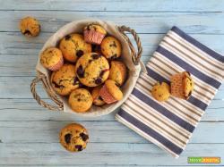Muffin con cioccolato fondente e mirtilli