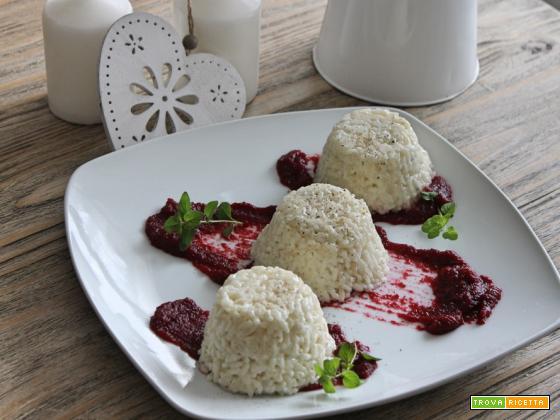 tortini di riso al gorgonzola su crema di rape rosse