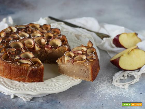 Torta vegan al farro con banane frullate e mele