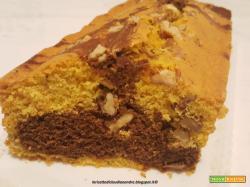 Plumcake bicolore al olio,  con zucca e noci