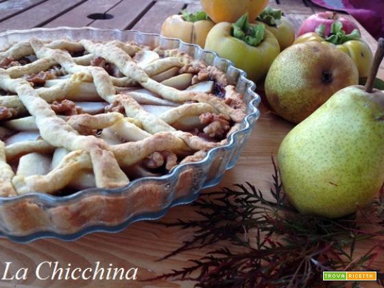 Crostata con pere, noci e confettura di susine