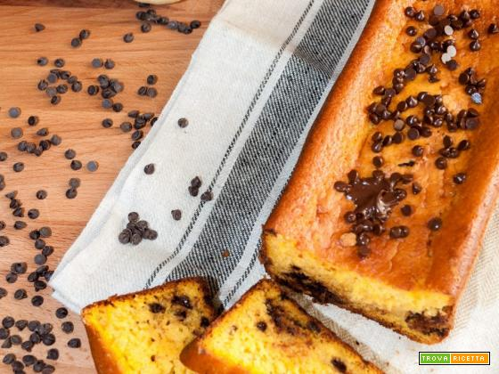 Plumcake alla zucca e gocce di cioccolato senza burro