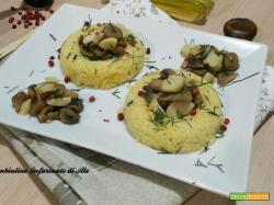 Sformatini di cous cous con funghi e castagne