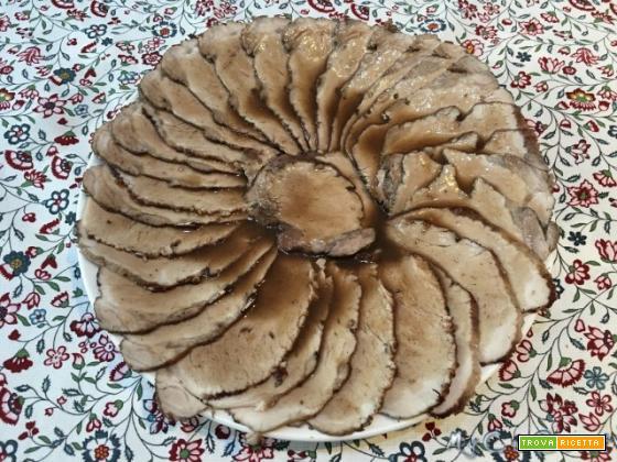 Lonza di maiale arrosto con Moulinex Companion XL, usando l'accessorio fondo piatto