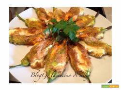 Fiori di zucca ripieni di ricotta e mozzarella