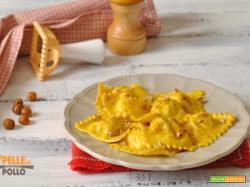 Ravioli di branzino con burro e nocciole