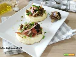 Ricotta al forno con pioppini e speck croccante