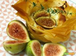 Cestini di pasta fillo gorgonzola e fichi caramellati al miele