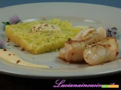 Patate al lime, capesante e maionese di corallo