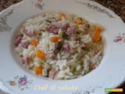 Risotto piselli carote e prosciutto