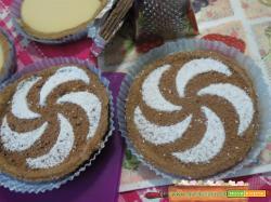 Tortine al cacao e budino alla vaniglia