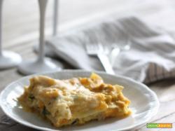 Lasagne al ragù di zucca, salsiccia e cavolini di Bruxelles