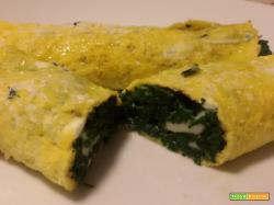 Cannelloni d'uovo con spinaci e sottiletta