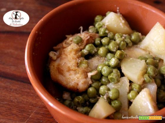 Filetti di pollo, piselli e patate con la pentola slow cooker