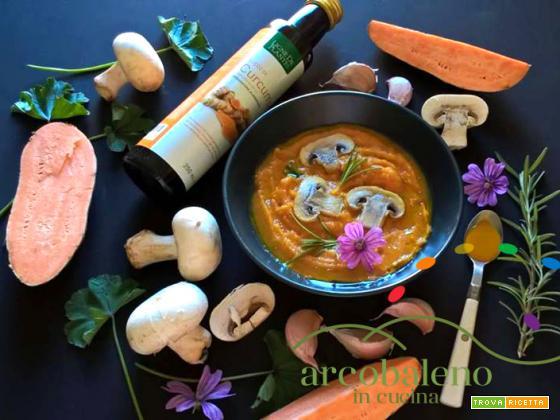 Crema di Patate dolci  con Funghi al profumo di Rosmarino e succo di Curcuma