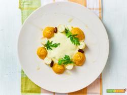 il Perù a casa mia, stufato di fagioli con fonduta di mais e patè di peperoncini dolci