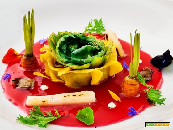 ho visto un re – raviolo aperto al carciofo con brodo leggero di ibiscus piccante, verdure croccanti e tartufo