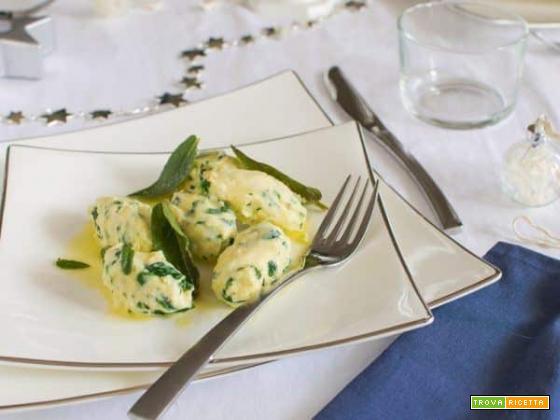 Gnudi agli spinaci , piatto tipico della tradizione toscana