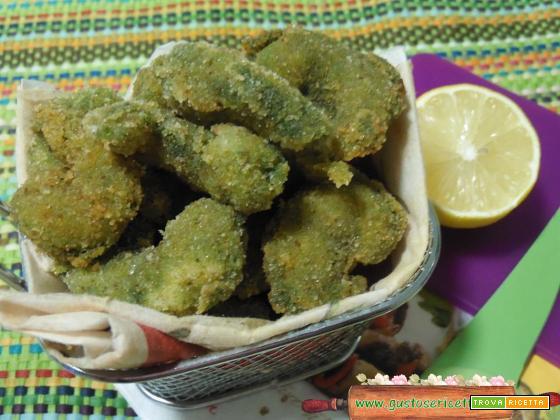 Gamberoni fritti panati agli spinaci