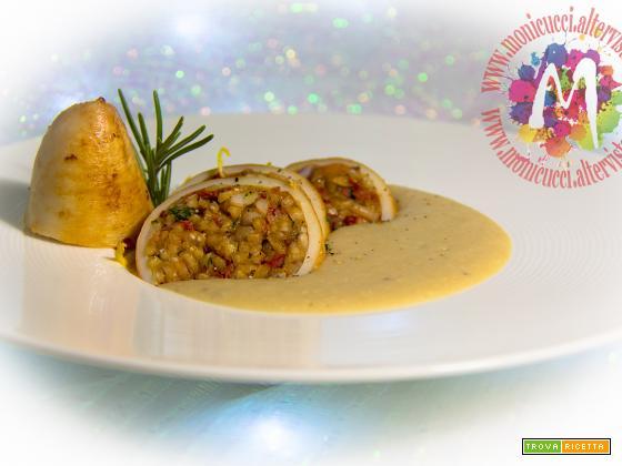 Calamari ripieni di riso alla paprika su crema aromatica di cannellini – I Menù del SorRISO