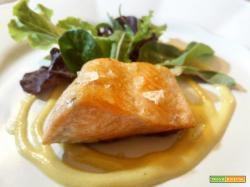 Il filetto di trota salmonata con crema di senape