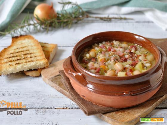 Zuppa di cannellini e orzo con patate e speck