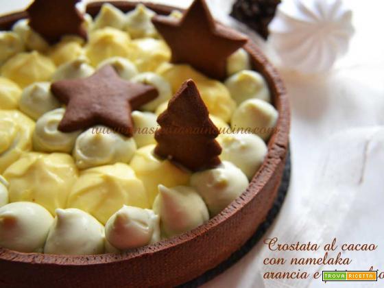 Crostata al cacao namelaka arancia e pistacchio