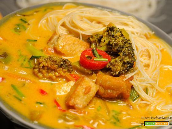 Thai Curry soup con vermicelli di riso integrale