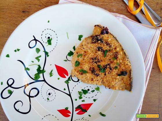 Pesce spada al forno con burrata e pomodorini