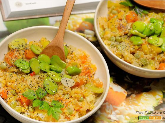 Porridge di quinoa e lenticchie rosse primavera e inverno