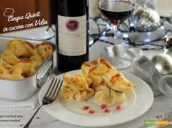 Fagottini di Crepe con Zucca e Ricotta e vino rosso - Cinque Quinti
