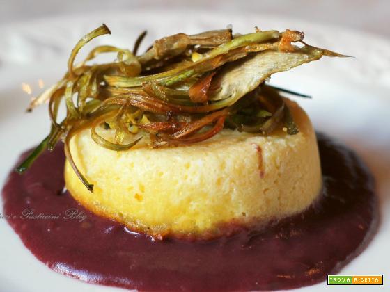 Sformatini di fontina su salsa rossa e carciofi croccanti