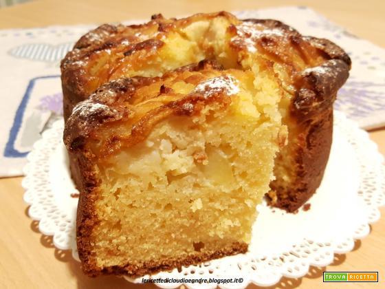 Torta alta e soffice con mele e ricotta, al olio
