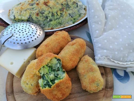 Contorno di patate, spinaci e fontina (fritto o al forno)