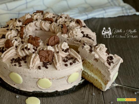 Torta con ganache al cioccolato bianco e panna al cacao