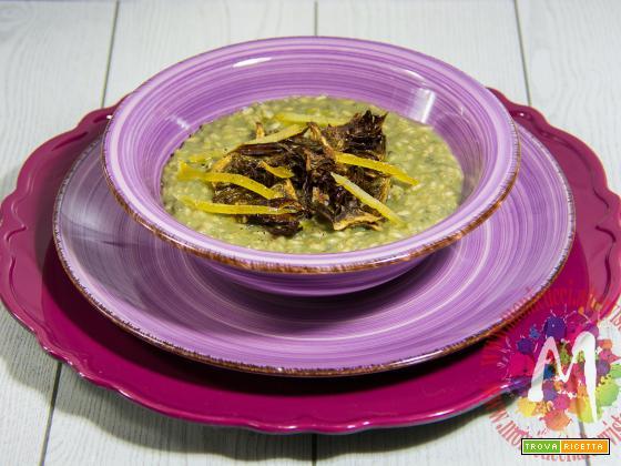 Risotto con crema di carciofi, chips e limone candito – I Menù del SorRISO