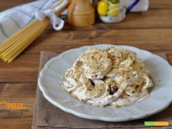 Spaghetti con crema di ricotta e olive