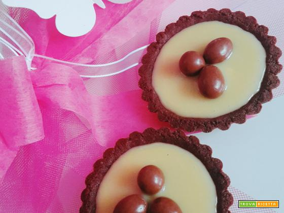 Crostatine al cacao e cioccolato bianco