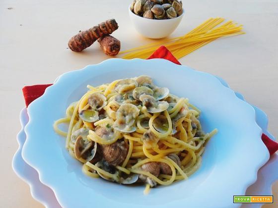 Spaghetti con VONGOLE e crema di TOPINAMBUR