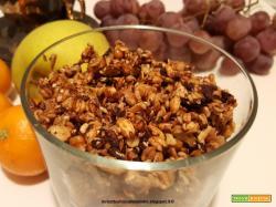 Granola con fiocchi d'avena integrali, riso soffiato integrale, misto di semi, cioccolato e miele