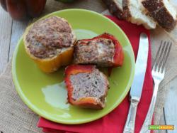 Peperone imbottito con carne macinata e cotto al forno