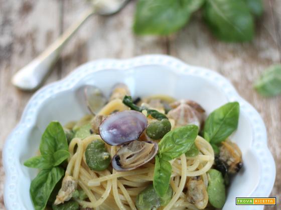 Spaghetti alla Gigino, con Fave e Vongole veraci